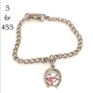 Vintage Enamel Rose Silver Bracelet 3/$33 SALE